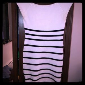 Gorgeous black and white striped bebe dress